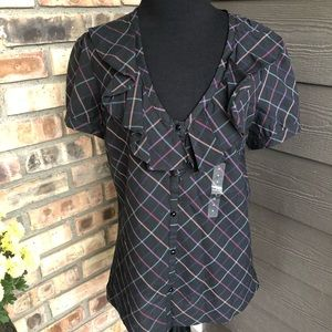 🔥Gap plaid short sleeve top size M NWT
